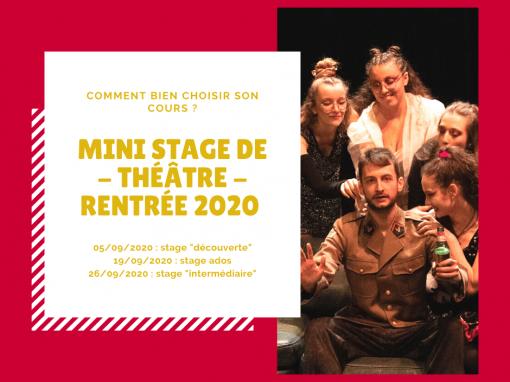 Stage de théâtre «découverte» – 5 septembre 2020