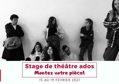 Stage de théâtre ados – 15 au 19 février
