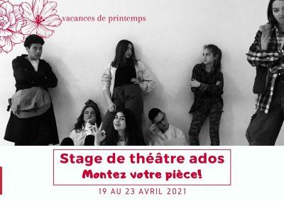 Stage de théâtre ado – 19 au 23 avril